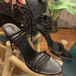 Gucci black leather strappy stiletto heel
